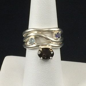 Smoky quartz/blue topaz/iolite ring/sterling